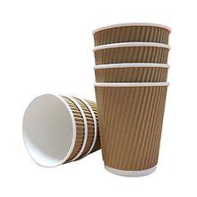 100 x Power 8 Unze geriffelt Papier Becher und weiß Deckel 3-lagige isoliert für Tee Kaffee Cappuccino heiße Getränke