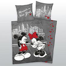 Bettwäsche Mickey + Minnie Mouse Maus New York Liebe Herding COOL 135 x 200 cm NEU WOW
