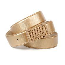 Anthoni Crown Goldfarbener Ledergürtel mit Unterführung Ledergürtel gold Damen