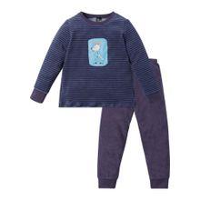 SCHIESSER Pyjama 'Frottee' hellblau / dunkelblau / mischfarben