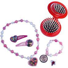 Miraculous Schmuckset mit 2 Glitzer-Haarspangen, Perlenkette, Perlenarmand, Ring und Pop Up Bürste mit Spiegel auf Blisterkarte 20x22 cm