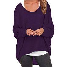 ZANZEA Damen Lose Asymmetrisch Jumper Sweatshirt Pullover Bluse Oberteile Oversize Tops Lila EU 46/Etikettgröße XL