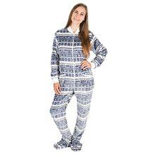 Silber-Weihnacht Kajamaz: Strampler für Erwachsene mit Füßlingen, einteiliger Schlafoverall aus Fleece, Einteiler für Erwachsene, Unisex-Fleece-Schlafanzug (XS)