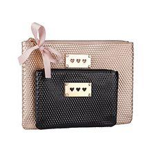 SIX Muttertagsgeschenk 2er Set Kosmetik Taschen, in metallic-gold und schwarz, mit goldenen Herzen (129-673)
