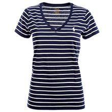 Ralph Lauren Polo Damen V-Neck Shirt T-Shirt Dunkelblau-Weiß Gestreift Größe XL