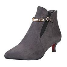 AIYOUMEI Damen Kleiner Absatz Stiefeletten mit Schnalle und 4cm Absatz Ankle Boots