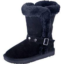Almwerk Damen Winter-Stiefel Boots Schlupf-Stiefel aus Echtleder warm gefüttert in verscheidenen Farben, Schuhgröße:38, Farbe:Schwarz