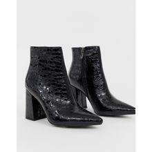 Public Desire - Hollie - Ankle-Boots mit Absatz aus schwarzem Kroko-Imitat - Schwarz