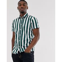 Selected Homme - Kurzärmliges, grünes Hemd mit Liegestuhl-Streifen - Grün