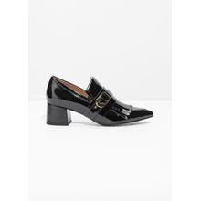 Patent Leather Loafer Pumps - Black