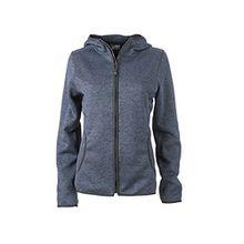 James & Nicholson Damen Sweatshirt Fleece Ladies'Knitted Hoody blau (Denim-Melange/Black) X-Large