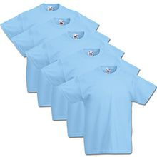 5 Fruit of the loom Kinder T Shirts 104 116 128 140 152 164 Viele Farben 100%Baumwolle (104, Pastelblau)