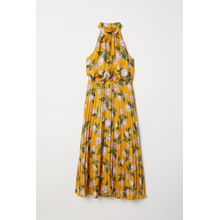 H & M - Neckholderkleid aus Satin - Yellow - Damen