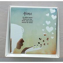 Formano Glasbild Spiegelweißheit Mama Muttertag Du hältst unsere Hände nur eine Weile,aber unsere Herzen für immer..Silhouette mit Spruch 15x15cm 888525 Geschenkidee Muttertag Hochzeit Geburtstag