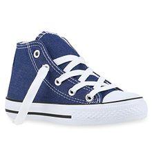Kinder Sneakers Turn Denim Sneaker High Stoff Schnürer Schuhe 140077 Denim Blau 29 Flandell