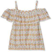 TOM TAILOR Kids Mädchen Bluse Carmen Allover Printed Blouse, Mehrfarbig (Soft Amber 3256), 140
