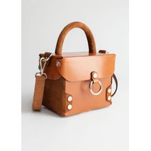 Structured Leather Suede Box Bag - Beige
