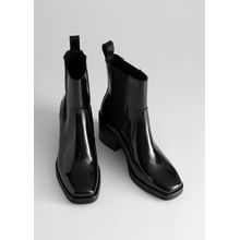 Square Toe Leather Boots - Black