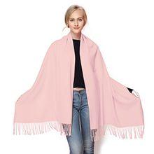 GWELL Klassische Kaschmir Poncho Cape Überwurf Damen Schal für Winter Herbst Oversize 190x70cm rosa-2