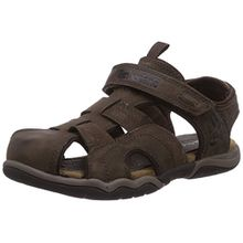 Timberland Active Casual Sandal_Oak Bluffs Leather Fisher, Unisex-Kinder Geschlossene Sandalen, Braun (Dark Brown), 33 EU