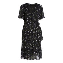 Verspieltes Kleid in Wickeloptik mit Tulpendruck