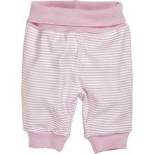Schnizler Baby - Mädchen Hose Jogginghose, Babyhose Ringel mit elastischem Bauchumschlag, Oeko - Tex Standard 100, Gr. 56, Rosa (weiß/rose 586)