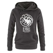 Comedy Shirts - Game of Thrones - FIRE AND BLOOD - Damen Hoodie - Schwarz / Silber Gr. M