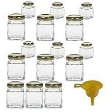 Viva Haushaltswaren 15 x Mini-Marmeladenglas/Gewürzglas 50 ml mit goldfarbenem Schraubverschluss, Gläser Set mit Deckel für Gewürze, Konfitüre, Salz etc. verwendbar (inkl. Trichter)