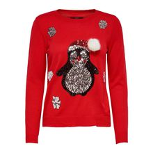 ONLY Pullover onlX-MAS PENGUIN L/S PULLOVER KNT Pullover rot Damen