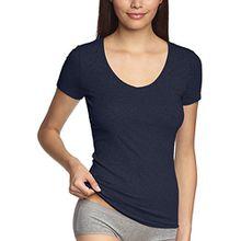 Schiesser Damen Unterhemd Shirt 1/2 Arm, Gr. 40, Blau (nachtblau 804)