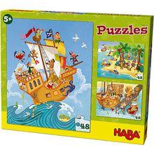 Puzzleset 3 x 48 Teile - Pirat & Co.