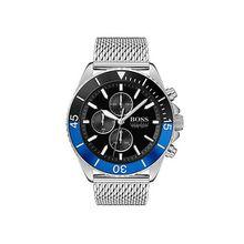 Uhr aus Edelstahl mit Mesh-Armband und zweifarbiger drehbarer Lünette