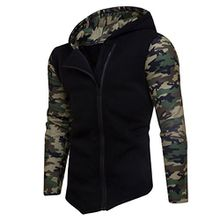 Herren Reißverschluss Camouflage Hoodies,Moonuy Männer Junge Winter Baumwolle Camouflage Persönlichkeit Reißverschluss Hoodie Mit Kapuze Mode Sweatshirt Mantel Jacke Charme Outwear (Schwarz, XL)