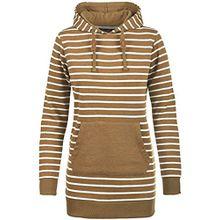 Blend She Cloey Damen Kapuzenpullover Hoodie Long Sweatshirt mit Fleece-Innenseite Longline Sweat-Kleid aus hochwertiger Baumwollmischung, Größe:L, Farbe:Dark Mustard (75116)