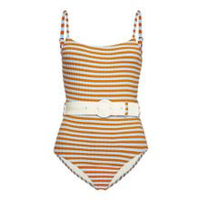 Solid & Striped Swimsuit The Nina mit Gürtel in Sky Riad