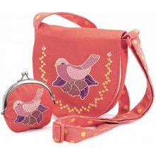 Kindertasche mit Geldbeutel - Vogel pink-kombi