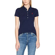 Polo Ralph Lauren Damen Poloshirt Stretch Mesh/Julie Polo, Blau (Newport Navy Xw7Xh), Medium