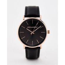 ASOS DESIGN – Schwarze Armbanduhr mit Gehäuse in Roségold