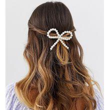 DesignB London - Haarclip mit Schleife und Kunstperlen - Weiß