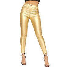 WEARALL - Damen Dünn Bein Tasche Metallisch Beschichtet Hoch Tailliert Strecke Damen Jeans - Gold - 36