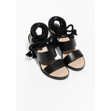 Leather Sandalette With Rope - Black