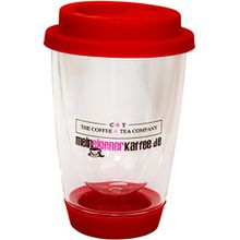 """Doppelwandiges Teeglas Trinkbecher 340 ml Thermoglas (hochwertiges Borosilikatglas) mit Silikondeckel & Trinköffnung, Der """"Tea to Go-Becher"""" (Rot) Ideal für unterwegs"""
