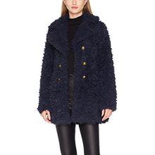 VERO MODA Damen Mantel Vmelnora Jayla Fake Fur Jacket, Blau (Navy Blazer Navy Blazer), 38 (Herstellergröße: M)