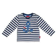 SALT AND PEPPER Baby-Jungen Langarmshirt B Longsleeve Pirat Stripe, Blau (Ink Blue Melange 481), 86