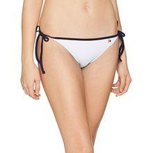 Tommy Hilfiger Damen Bikinihose Cheeky String Side Tie Bikini, Weiß (Bright White 105), 38 (Herstellergröße: M)