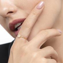 Verlobungsring Pave in Gelbgold mit Diamanten