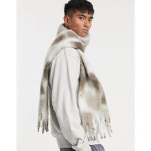 ASOS DESIGN – Schal mit Batikmuster und Quasten in Weiß und Grau
