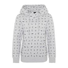Sublevel Damen Sweathoodie mit Allover-Anker-Print | Sportlich-Eleganter Kapuzenpullover light-grey XS