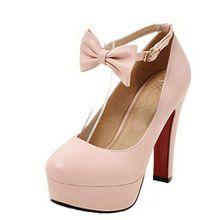 AIYOUMEI Damen Riemchen Pumps mit Schleife High Heel Plateau Blockabsatz Elegant Abend Schuhe