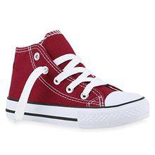 Stiefelparadies Kinder Sneakers Turn Denim Sneaker High Stoff Schnürer Schuhe 140070 Dunkelrot 28 Flandell